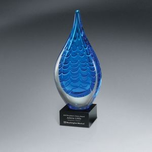 Indigo Stream Art Glass - Medium (Includes Silver Color-Fill on Base Only)